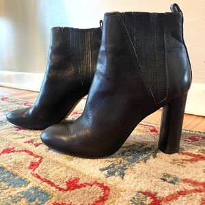 Vince Camuto Leather Heeled Black Boots